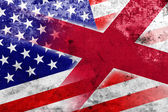 USA and Alabama State Flag with a vintage and old look — Stock Photo