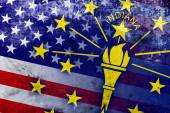 USA and Indiana State Flag with a vintage and old look — Stock Photo