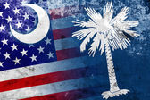 USA and South Carolina State Flag with a vintage and old look — Stock Photo