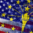 USA and Indiana State Flag painted on grunge wall — Stock Photo #60430869