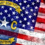 USA and North Carolina State Flag painted on grunge wall — Stock Photo #60431191