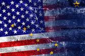 USA and Alaska State Flag painted on grunge wall — Stock Photo