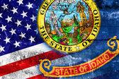 グランジの壁に描かれたアメリカ、アイダホ州の旗 — ストック写真