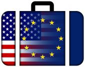 Suitcase with United States and European Union Flag — Stock Photo