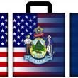 Suitcase with USA and Maine State Flag — Stock Photo #60515905
