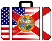 Suitcase with USA and Florida State Flag — Foto Stock