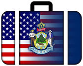 Suitcase with USA and Maine State Flag — Stock Photo