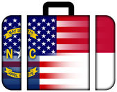 Suitcase with USA and North Carolina State Flag — Fotografia Stock