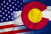 Waving USA and Colorado State Flag — Stock Photo