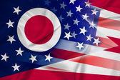 Waving USA and Ohio State Flag — ストック写真