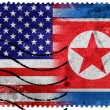 USA and North Korea Flag - old postage stamp — Stok fotoğraf #60766169