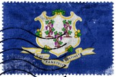 Connecticut State Flag - old postage stamp — Stockfoto