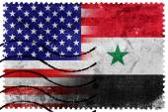USA and Syria Flag - old postage stamp — Fotografia Stock