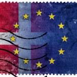 Denmark and European Union Flag - old postage stamp — Stock Photo #60810047