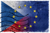 Czech Republic and European Union Flag - old postage stamp — Stock Photo