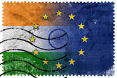 India and European Union Flag - old postage stamp — Stock Photo