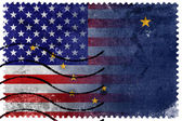 USA and Alaska State Flag - old postage stamp — ストック写真