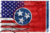 USA and Tennessee State Flag - old postage stamp — Stockfoto