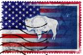 USA and Wyoming State Flag - old postage stamp — Stock fotografie