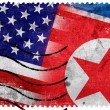 USA and North Korea Flag - old postage stamp — Stok fotoğraf #60932523