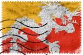 Bhutan Flag - old postage stamp — Stock Photo