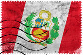 Peru Flag - old postage stamp — Stock Photo