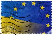 Ukraine and EU Flag - old postage stamp — Stock Photo