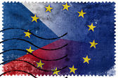Czech Republic and European Union Flag - old postage stamp — Stockfoto