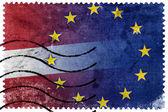 Latvia and European Union Flag - old postage stamp — Stock Photo