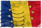 Romania and European Union Flag - old postage stamp — Stock Photo
