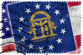 Usa und Georgien Staatsflagge - alte Briefmarke — Stockfoto