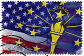 USA and Indiana State Flag - old postage stamp — Stock Photo