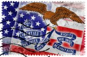 USA and Iowa State Flag - old postage stamp — Stock Photo