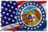 USA and Missouri State Flag - old postage stamp — Stock Photo