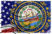 USA and New Hampshire State Flag - old postage stamp — Стоковое фото