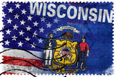 USA and Wisconsin State Flag - old postage stamp — Foto de Stock