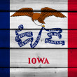 Iowa State Flag on wood background — Stock Photo #61785025