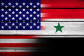 USA and Syria Flag on wood background — Стоковое фото