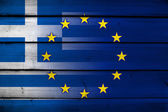 Greece and European Union Flag on wood background — Foto de Stock