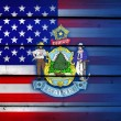 USA and Maine State Flag on wood background — Stock Photo #62043449