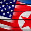 USA and North Korea Flag on wood background — Stockfoto #62594945
