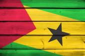 Sao Tome and Principe Flag on wood background — Stock Photo