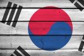South Korea Flag on wood background — Stock Photo