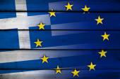 Greece and European Union Flag on wood background — Stock Photo