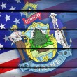 USA and Maine State Flag on wood background — Stock Photo #62766923