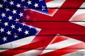 USA and Alabama State Flag on wood background — Photo