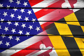 USA and Maryland State Flag on wood background — Stock Photo