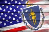 USA and Massachusetts State Flag on wood background — Stock Photo