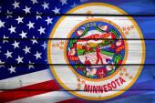 USA and Minnesota State Flag on wood background — Stock Photo