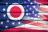 USA and Ohio State Flag on wood background — Stockfoto